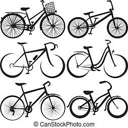 Fahrrad - Silhouette und die Umrisse.