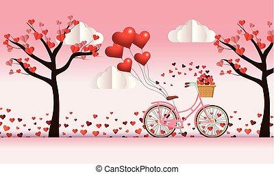 Fahrrad und Bäume mit Herzen Blumen Dekoration zum Valentinstag.