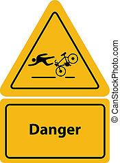 fahrrad, zeichen, warnung, gelber