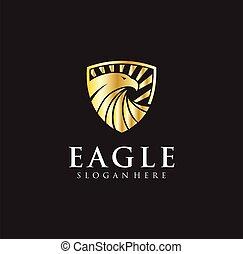 falke, goldenes, logo, design, bild, business., abbildung, logotype, vektor, adler, schutzschirm