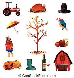 Fall- oder Herbstsymbole.