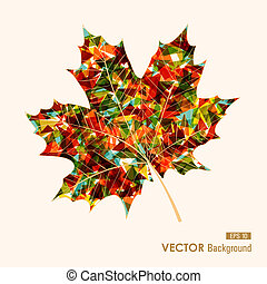 Fall saisonfarbenes, transparentes Blatt, geometrische Elemente. Im Herbst abbrechen. EPS10 Vektordatei mit Transparenz für leichte Schnitte