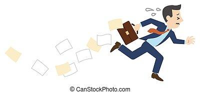 fallen, während, geschäftsmann- betrieb, dokumente, abbildung