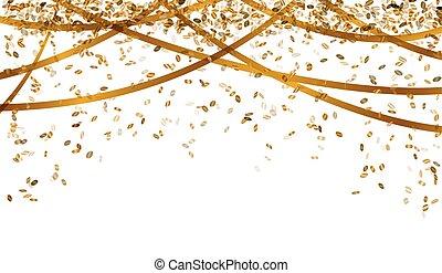 Fallende Goldkonfetti.