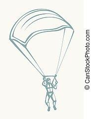 fallschirmspringer, medizinische zeichnung, vektor, mask.