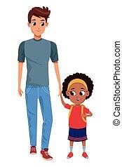Familie alleinerziehender Elternteil mit Kinder-Cartoon.