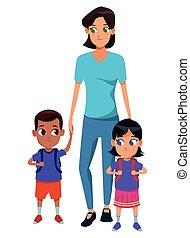 Familie alleinstehende Mutter mit zwei Kindern.