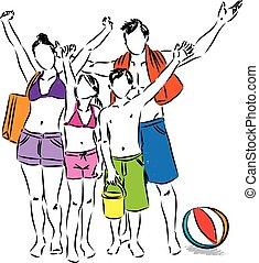 Familie an der Strand Illustration.