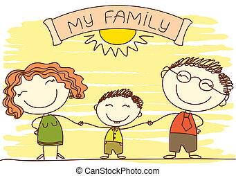 Familie auf weiß.Vector glückliche Eltern und Text.