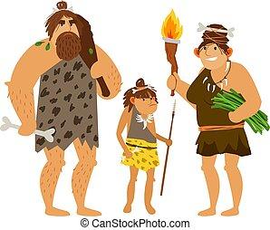 Familie aus Steinzeit