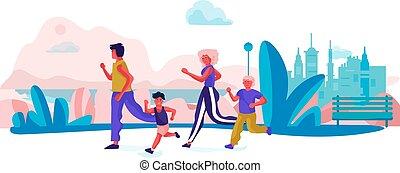 Familie Cartoon läuft im Park. Eltern und Kinder, die Sport treiben an Feiertagen. Vector glückliche Familienszene