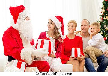 familie, claus, geschenke, santa, daheim, lächeln