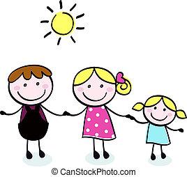 Familie Doodle - Mutter, Vater und Kind isolieren auf weiß