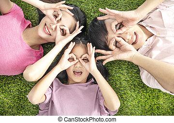 familie, draufsicht, liegen, glücklich, junger, gras