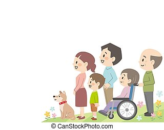 familie, drei, auf, himmelsgewölbe, schauen, generation