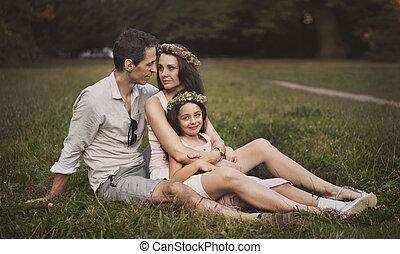 familie, entspannend, kleingarten, sommer, heiter