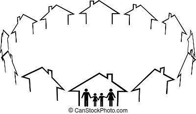 Familie findet Häuser in der Nachbarschaft
