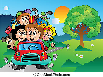 Familie im Auto macht Urlaub