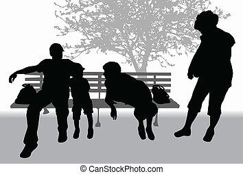 Familie im Park.