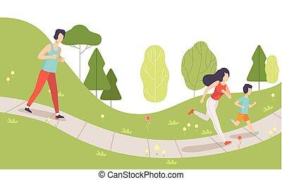 Familie im Park, Mutter, Vater und ihr Sohn machen körperliche Aktivitäten im Freien, gesunde Lifestyle und Fitness-Vektor Illustration.