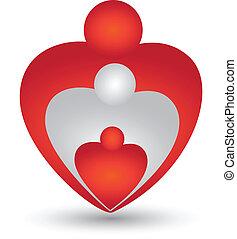 Familie in Herzform, Logovektor