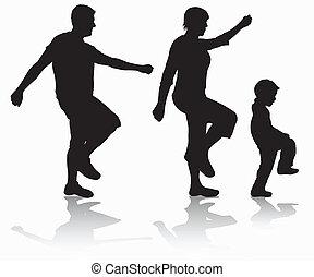 Familie laufende Silhouetten.