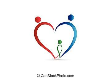 familie, logo, herz- form, gewerkschaft