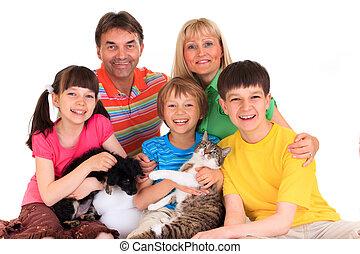 Familie mit Haustieren
