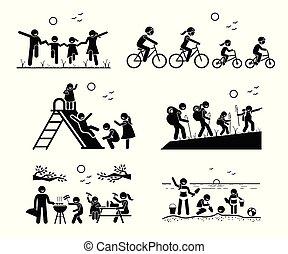 Familie Outdoor Freizeitaktivitäten.