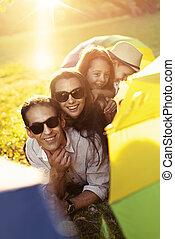 familie, park, enjotying, wetter, sommer, heiter