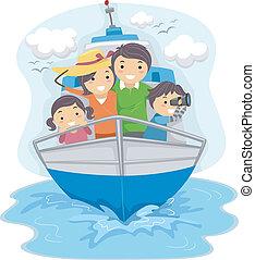 Familie reist mit dem Schiff