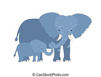 familie, savanne, freigestellt, offspring., bunte, pflanzenfressend, hintergrund., elefant, weißes, bezaubernd, kälbchen, wohnung, elternteil, animals., mutti, baby kind, karikatur, illustration., vektor, afrikanisch, wild, oder
