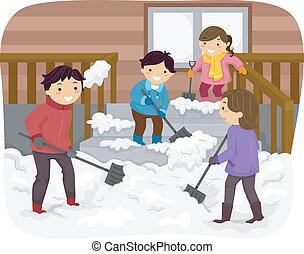 Familie schippt Schnee.
