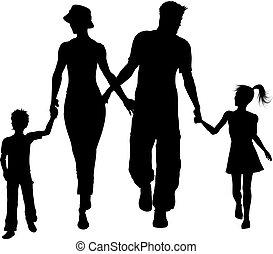 Familie Silhouette läuft.