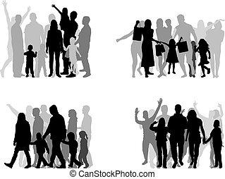 Familie Silhouetten , große Gruppe von Menschen.
