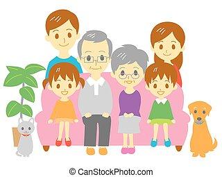 Familie, Sofa, drei Generationen Familie.