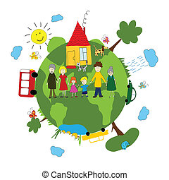 Familie und grüne Erde