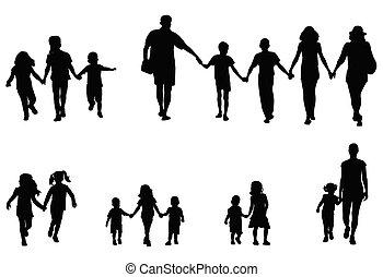Familie und Kinder halten Händchen Silhouetten Sammlung.