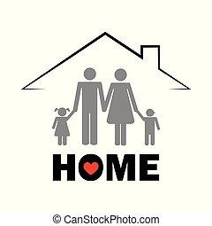 Familie unter der Dachwohnung Konzept Piktogramm.