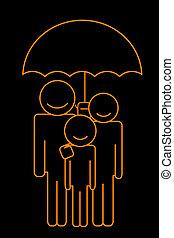 Familie unter Schirm