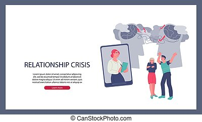 familie, wohnung, online, beratungsgespräch, illustration., paar, website, psychologe, vektor