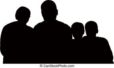 Familie zusammen, Silhouette.
