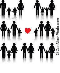 Familien-Ikone, schwarz mit rotem Herz