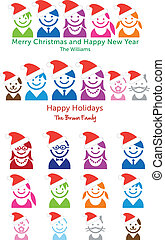 Familien-Weihnachtskarte, Vektor-Ikonen