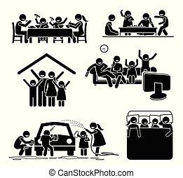 Familienaktivitäten zu Hause.