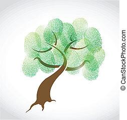 Familienbaum Fingerabdrücke Illustration Design.