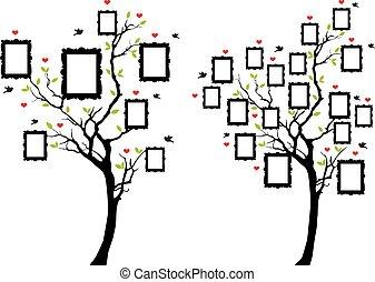 Familienbaum mit Fotorahmen, Vektor.