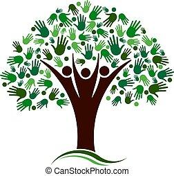 Familienbaum mit Handnetz-Vektorlogo.