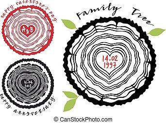 Familienbaum mit Herzringen.