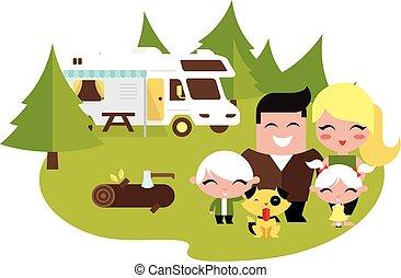 Familiencamping draußen.